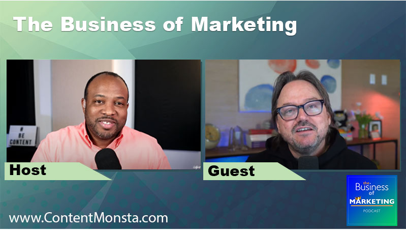 Podcast video with branded framing around guest and host